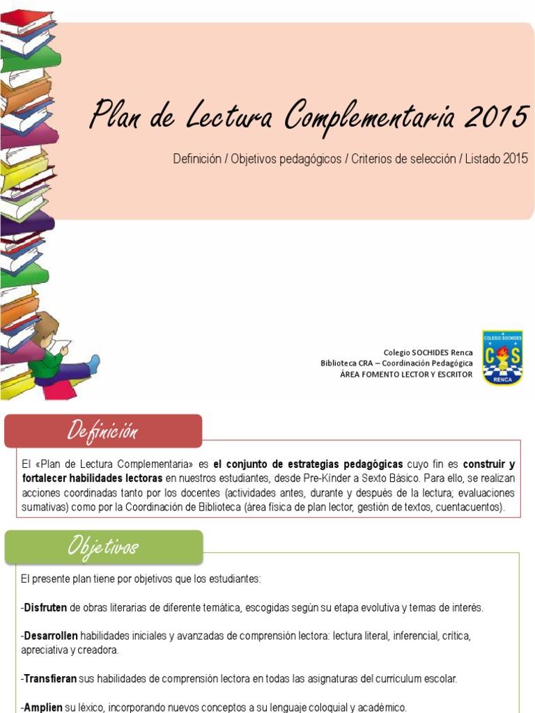 Plan de Lectura Complementaria 2015