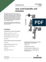 Fisher 249 Sensor Level Controller and Transmitter Dimensions en 124806