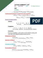 Chemical Equation List HSC