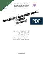 Practica #6 Funcionamiento de Un Reactor Tubular en Estado Estacionario Grupo 1 Martes