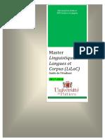 Guide 2017-2018 Master Linguistique - LiLaC