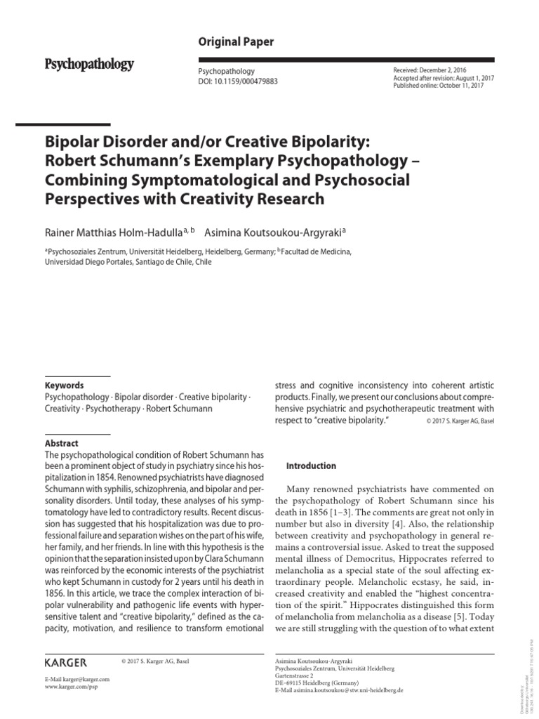 Desorden Bipolar Robert Schumann Psychiatry
