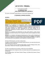 Ley Nº 3741 del Programa Solidario Comunal Departamental (PROSOL)