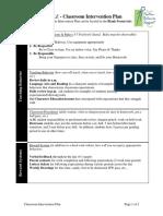Classroom Intervention Plan Sample
