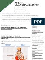 Hanuman Chalisa Lyrics PDF Download _ Hanuman Chalisa