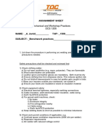 Assignment on Benchwork/Workshop Safety and Practices