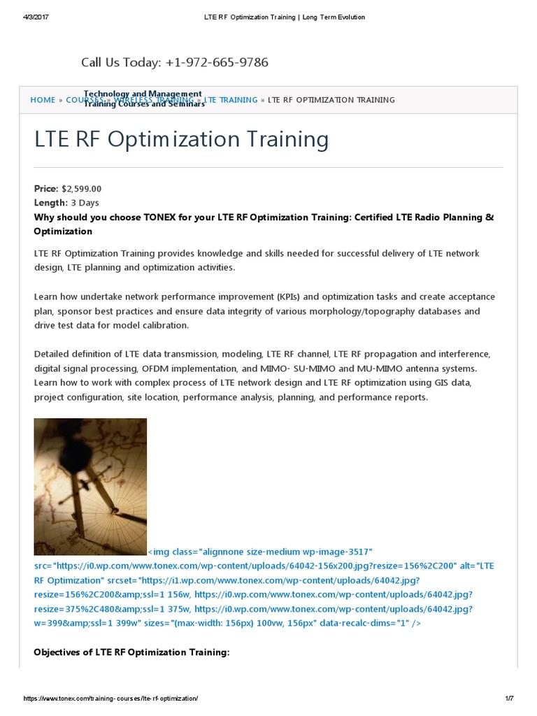 lte rf optimization training _ long term evolution | lte