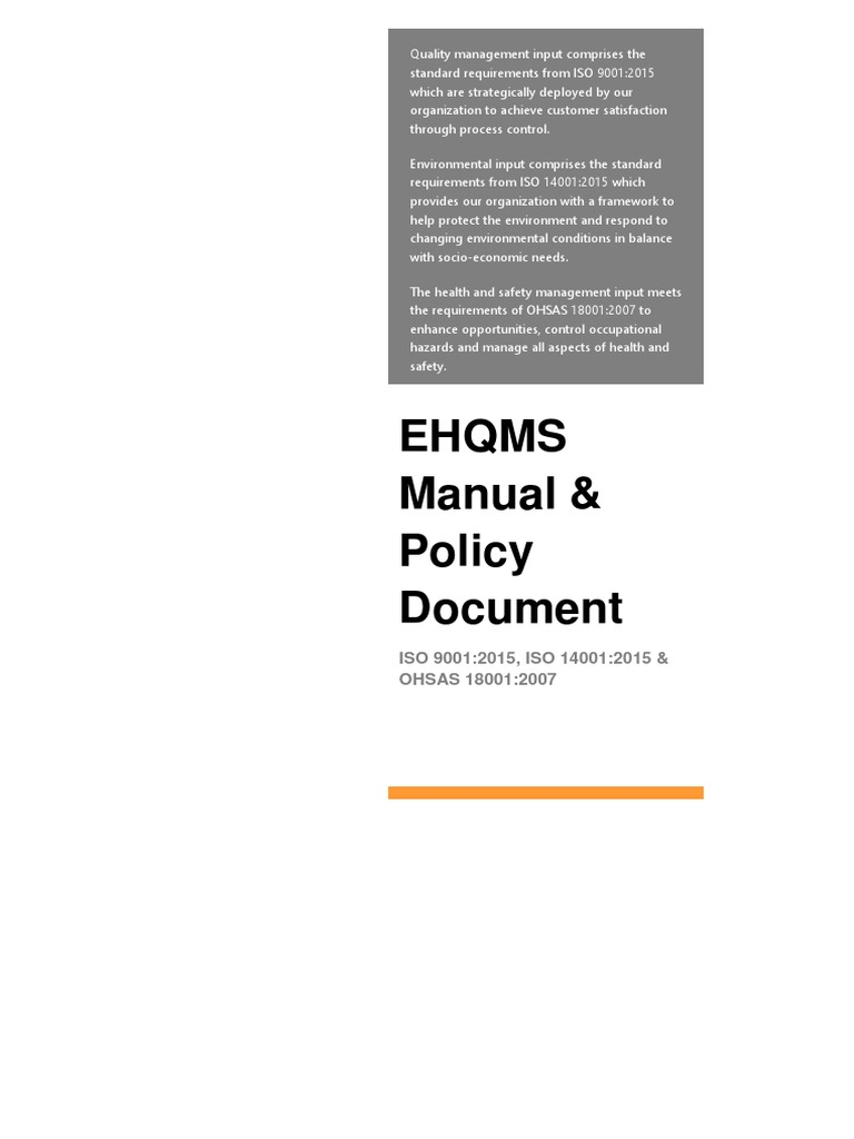EHQMS Quality Manual & Policy Document Sample | Occupational Safety And  Health | Quality Management System
