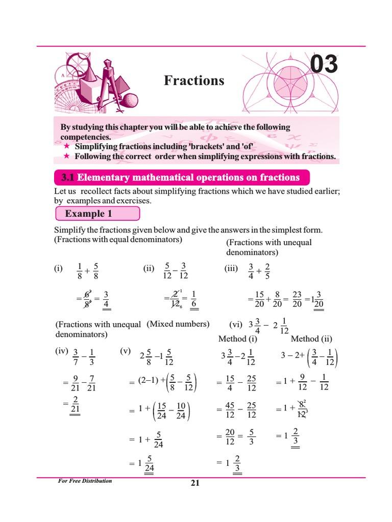 chapter 3 | Fraction (Mathematics) | Multiplication