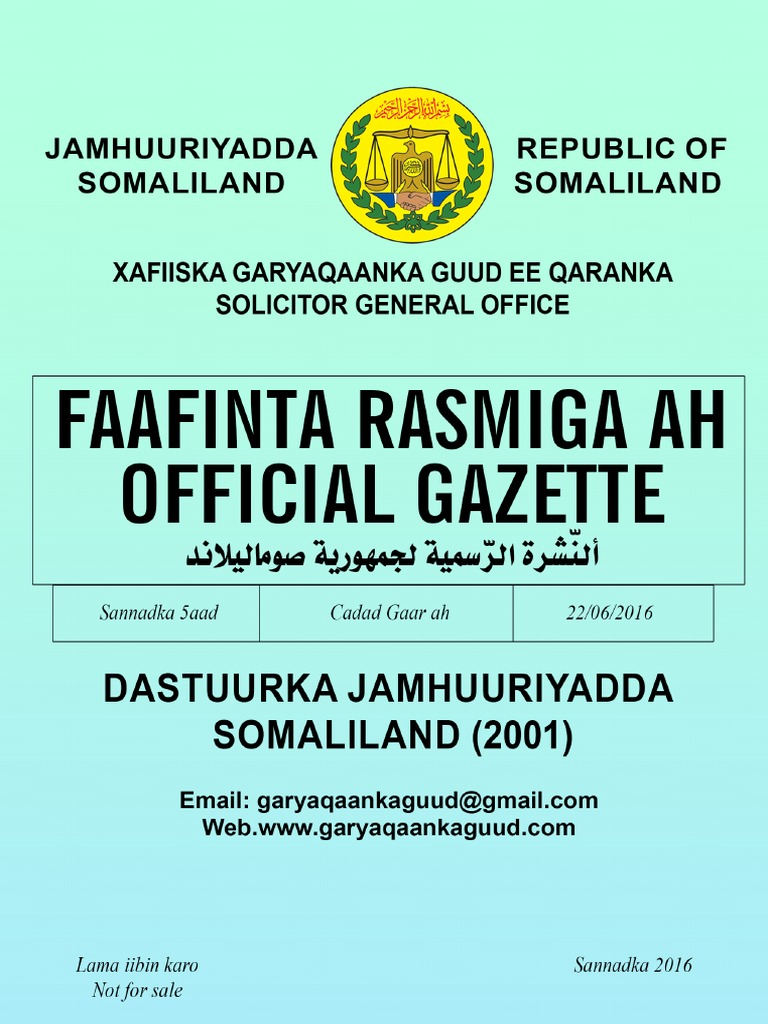Dastuurka Jamhuuriyadda Somaliland. 2001 PDF