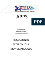 Reglamento Tecnico 2018 Monomarca Gol APPS