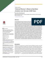 Medida de La Cintura de Las Mujeres Preferidas en Relacion a La Variación de Cadera Durante Los Últimos 2.500 Años