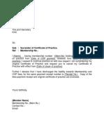 COP Surrender Letter Format