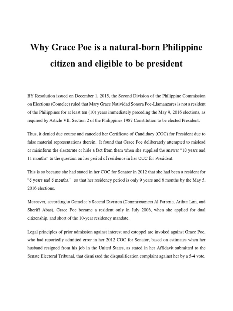 Why Grace Poe is a Natural- Born Filipino Citizen