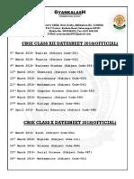 CBSE Board Datesheet 2018