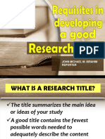 Requisites in Developing a Good Research Title