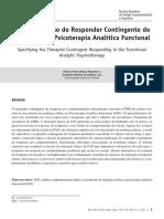 A Especificação do Responder Contingente do Terapeuta na Psicoterapia Analítica Funcional