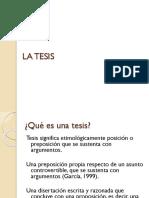 Unidad 1. 1.3 La Tesis