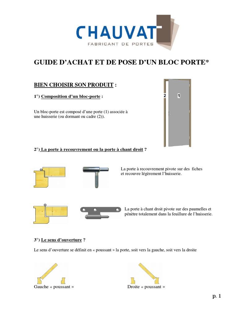 Notice De Montage Bloc Porte Isothermique Postforme H 204