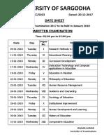 UOS M.ed Date Sheet 2018