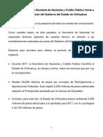 Posicionamiento de La Secetaría de Hacienda y Crédito Público Frente a Las Manifestaciones Del Gobierno Del Estado de Chihuahua
