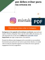 7 Errores Que Debes Evitar Para Que Tu Marca Crezca en Instagram