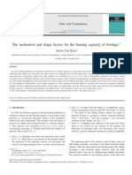 The Inclination and shape factors for the bearing capacity of footings