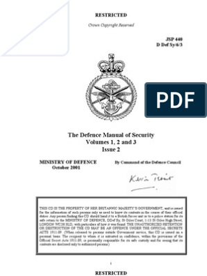 The Defence Manual of Security | Classified Information | Online