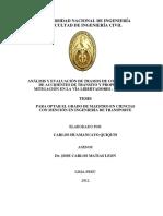 Analisis y Evaluación de Tramos Ce Concentración de Accidentes de Tránsito y Propuestas de Mitigación en La Vía Liberatdores - Ayacucho