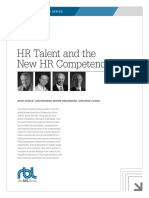 (Ulrich, D.; Younger, J.; Brockbanl, W. & Ulrich, M., 2012). HR Talent and the New HR Competencies