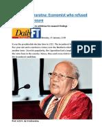 Professor Indraratna  Economist who refused to bow to pressure.docx