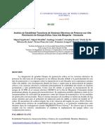Análisis de Estabilidad Transitoria de Sistemas Eléctricos de Potencia Con Alta