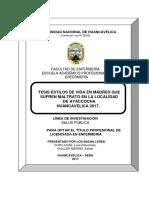 TESIS ESTILOS DE VIDA EN MADRES QUE SUFREN MALTRATO EN LA LOCALIDAD DE AYACCOCHA HUANCAVELICA 2017