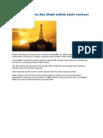 TechnipFMC Wins Abu Dhabi Sulfate Plant Contract- ZADCO