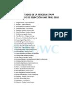 Resultados de La Tercera Etapa UWC Perú