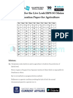 Answer Key for the Live Leak IBPS SO Mains Model Question Paper for Agriculture