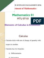 Element of Culculus in Economics-1
