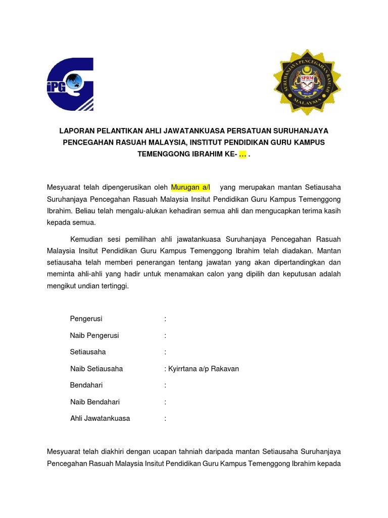 Laporan Pelantikan Ahli Jawatankuasa Persatuan Suruhanjaya Pencegahan Rasuah Malaysia