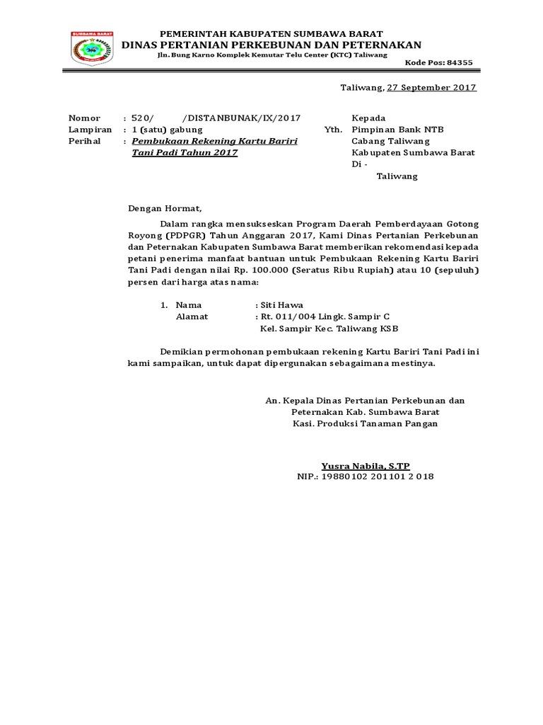 Surat Pengantar Kartu Bariri Alsintan 2