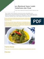 Resep Dan Cara Membuat Sayur Lodeh Buncis Yang Sederhana Dan Enak