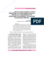 MANAGEMENT OF INTELLIGENCE ACTIVITY IMPROVING THE INTELLIGENCE ANALYSIS PROCESS AS A PRE-REQUISITE TO INCREASING THE EFFICIENCY OF MILITARY INTELLIGENCE SERVICES