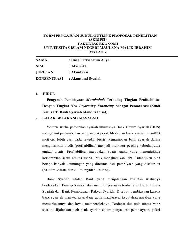 Contoh Outline Proposal Skripsi Pdf Pejuang Skripsi