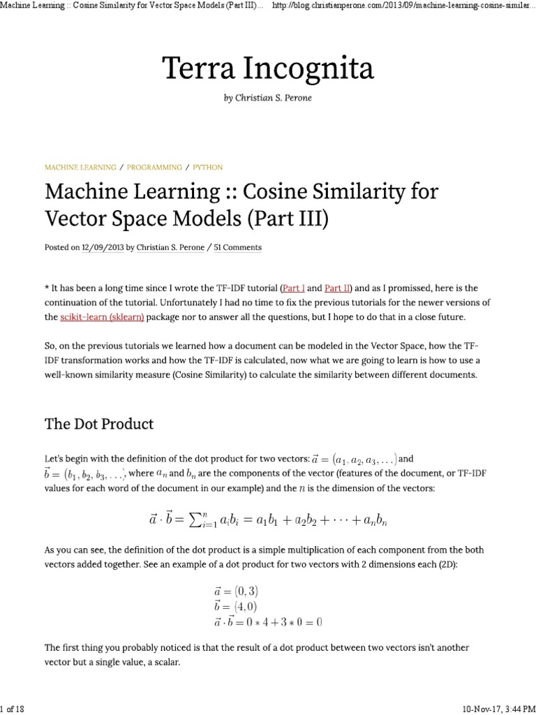 Machine Learning __ Cosine Similarity for Vector Space Models (Part