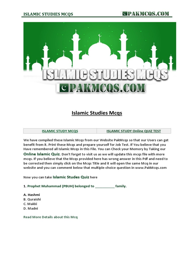Download Islamic Studies Mcqs in PDF PakMcqs com | Hajj | Ali