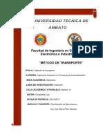 Luis Chasiluisa-Metodo de Transporte