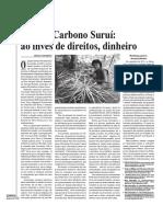 SCHMIDLEHNER,M.F., Projeto Carbono Suruí - Ao Invés de Direitos, Dinheiro, In Porantim - Em Defesa Da Causa Indígena. Brasilia, p. 10-11, Set. 2014