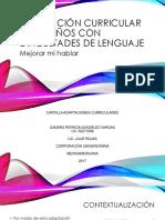 Adaptación Curricular Para Niños Con Dificultades de Lenguaje