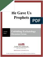 He Gave Us Prophets – Lesson 8 – Forum Transcript