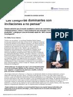 """Sassen Saskia Página 12 """"Las Categorías Dominantes Son Invitaciones a No Pensar"""""""