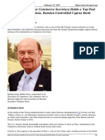 Wilbur Ross Comes to d c With a Long and Profitable History of Russian Connections